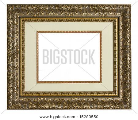 Old golden highly detailed picture frame with matting.