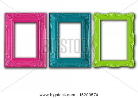 Pretty picture frames isolated on white.