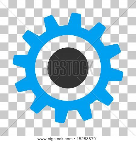 Blue And Gray Cogwheel interface toolbar icon. Vector pictograph style is a flat bicolor symbol on chess transparent background.