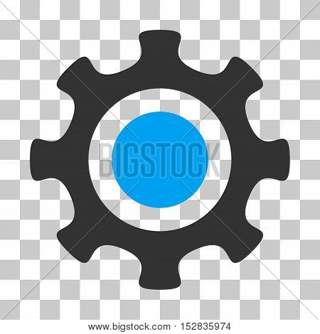 Blue And Gray Cogwheel toolbar icon. Vector pictogram style is a flat bicolor symbol on chess transparent background.
