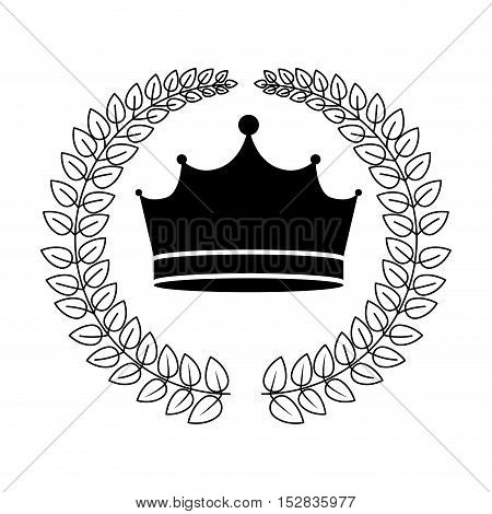 leaves frame with king crown royal jewelry accessory icon silhouette. vector illustration