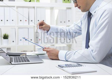 Man Checking The Data