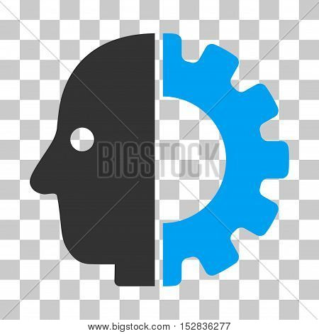Blue And Gray Cyborg Head interface pictogram. Vector pictograph style is a flat bicolor symbol on chess transparent background.