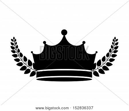 king crown royal jewelry accessory with frame of branches with leaves silhouette. vector illustration