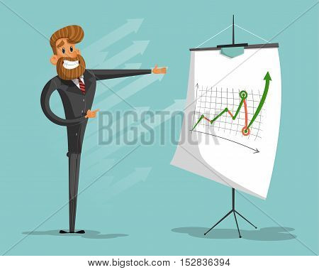 Happy businessman or manager brags success graph.