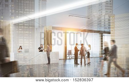 Colleagues in lobby of office with reception counter and meeting room with glass doors. Concept of modern workspace. 3d rendering. Mock up. Toned image. Double exposure