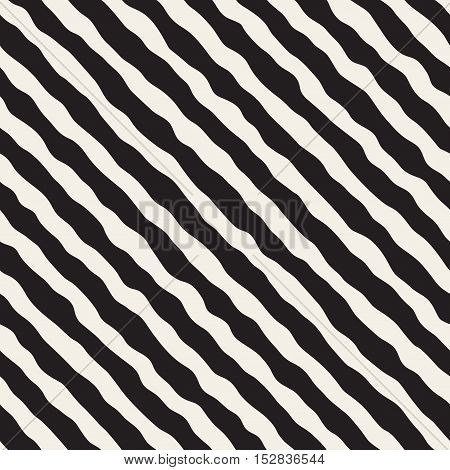 Vector Seamless Black and White Roughly Hand Drawn Diagonal Stripes Pattern. Abstract Freehand Background Design
