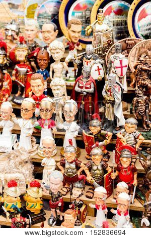 ROME, ITALY - CIRCA JAN 2015: Souvenirs selection from Rome