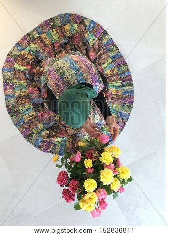 Muslim woman with flowers