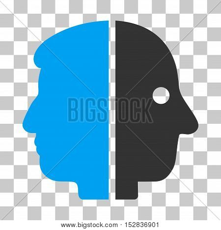 Blue And Gray Dual Face toolbar pictogram. Vector pictogram style is a flat bicolor symbol on chess transparent background.