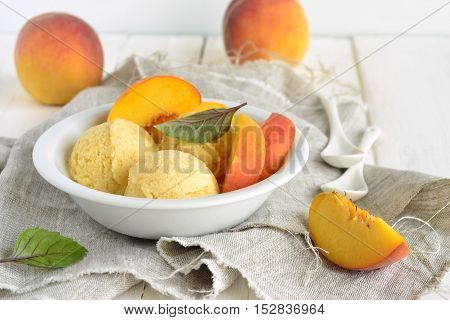 Homemade peach ice cream sorbet, selective focus