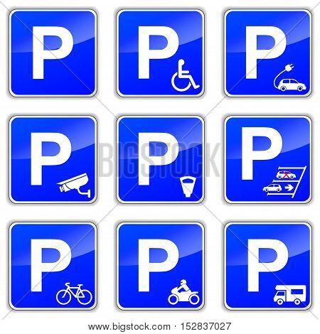 Illustration of car park signs on white background