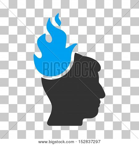 Blue And Gray Fired Head interface icon. Vector pictograph style is a flat bicolor symbol on chess transparent background.