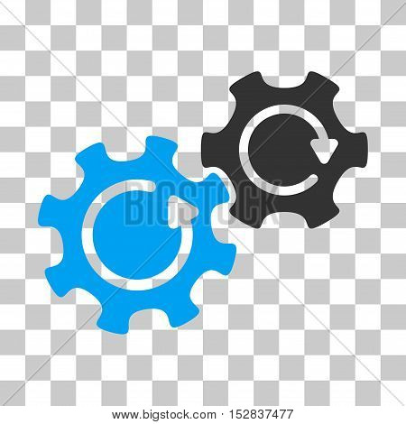 Blue And Gray Gears Rotation toolbar pictogram. Vector pictogram style is a flat bicolor symbol on chess transparent background.