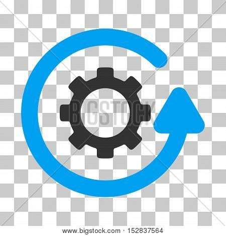 Blue And Gray Gearwheel Rotation Direction interface pictogram. Vector pictograph style is a flat bicolor symbol on chess transparent background.