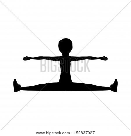 silhouette woman training yoga splits exercise over white background. fitness lifestyle design. vector illustration