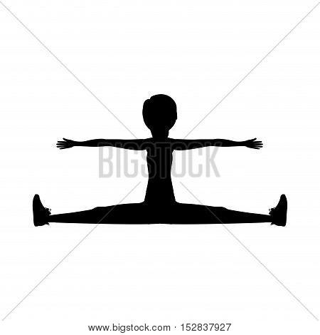 silhouette woman training yoga splits exercise over white background. fitness lifestyle design. vector illustration