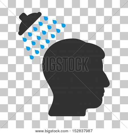Blue And Gray Head Shower toolbar icon. Vector pictogram style is a flat bicolor symbol on chess transparent background.