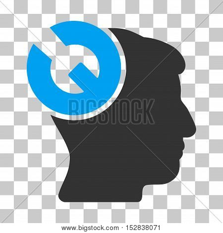 Blue And Gray Head Surgery Wrench interface pictogram. Vector pictograph style is a flat bicolor symbol on chess transparent background.