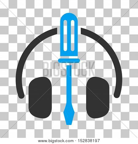 Blue And Gray Headphones Tuning Screwdriver interface icon. Vector pictograph style is a flat bicolor symbol on chess transparent background.