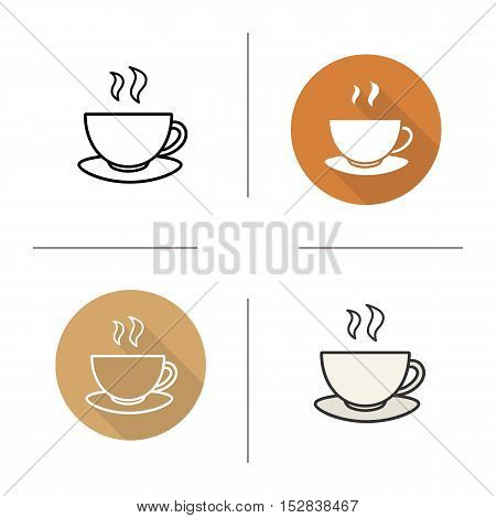 Steaming tea cup on plate icon. Flat design, linear and color styles. Coffee cup. Teacup isolated vector illustrations