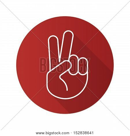 Peace hand gesture flat linear long shadow icon. Two fingers up. Victory vector line symbol