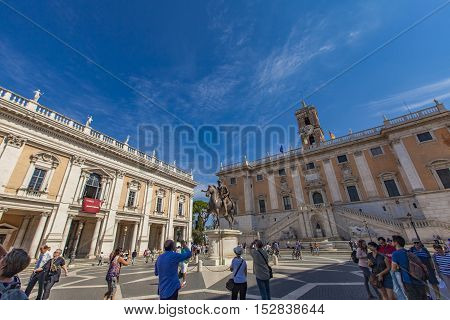 ROME, ITALY - SEPTEMBER 24, 2016: Unidentified people at Capitoline Hill in Rome Italy. It is one of the Seven Hills of Rome and was the citadel of the earliest Romans.