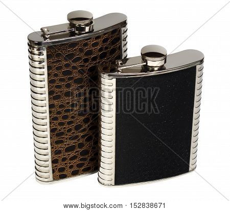 Two souvenir hip flask. Isolation on a white background.