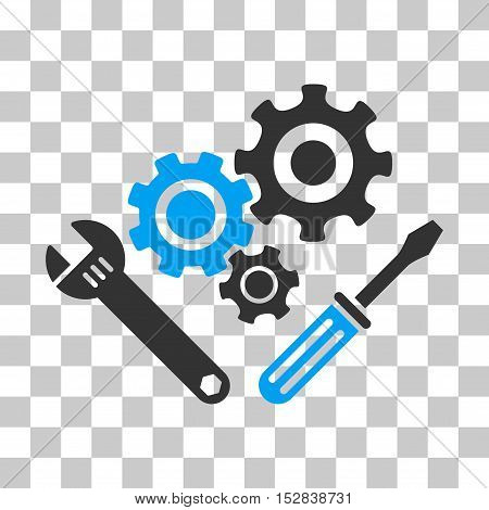 Blue And Gray Mechanics Tools interface toolbar icon. Vector pictogram style is a flat bicolor symbol on chess transparent background.