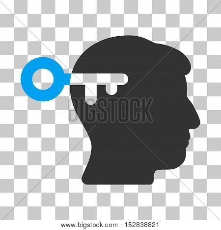 Blue And Gray Mind Key toolbar pictogram. Vector pictogram style is a flat bicolor symbol on chess transparent background.