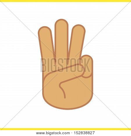 Three finger salute color icon. Scout promise sign. Three fingers hand gesture. Isolated vector illustration