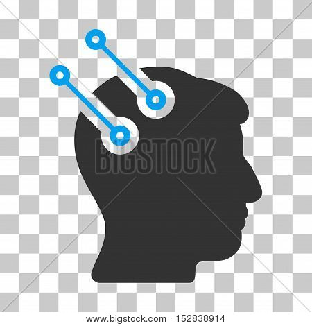 Blue And Gray Neural Interface Connectors toolbar pictogram. Vector pictograph style is a flat bicolor symbol on chess transparent background.
