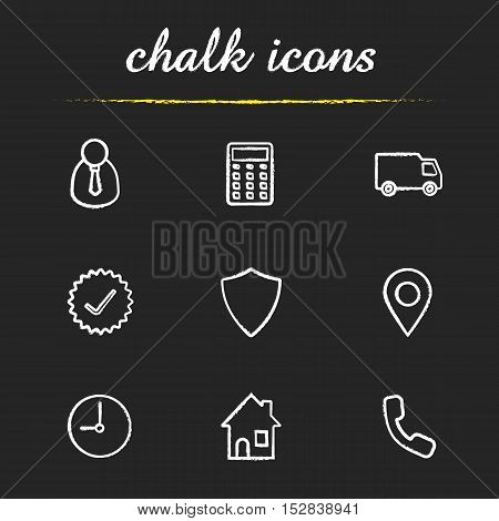 Delivery service chalk icons set. Manager, calculator, delivery truck, approved sign, shield, gps pinpoint, clock, house, contact us symbol illustrations. Isolated vector chalkboard drawing