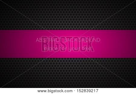 Geometric polygons background with pink place for your text abstract black metallic wallpaper vector illustration