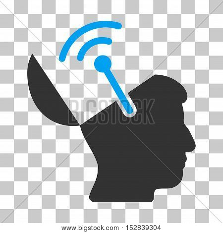 Blue And Gray Open Brain Radio Interface interface toolbar pictogram. Vector pictograph style is a flat bicolor symbol on chess transparent background.
