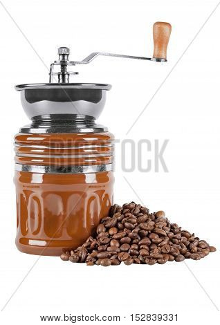old coffee mill with coffee beans on white isolated background