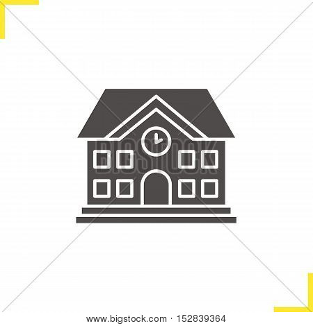 School building icon. Negative space. University silhouette symbol. Vector isolated illustration