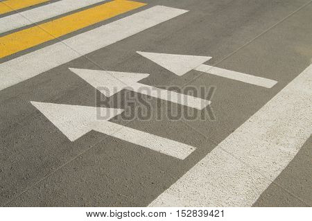 Asphalt road with arrow sign shows the direction of movement.