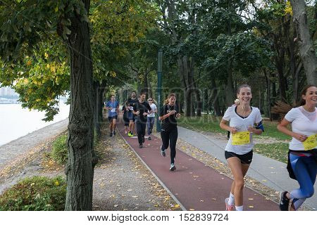 Budapest, Hungary - October 2 2016. Park Margit. Margitsziget Athletics Centre. Young people take part in October's Charity Run. This is the fourth year in a row that CEMS Club Budapest is organizing one of the highlights of the academic year, the CMS Cha