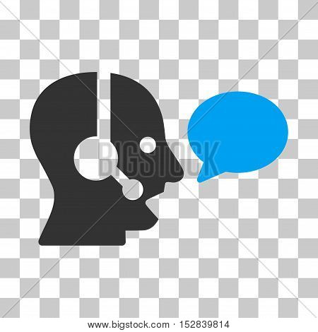 Blue And Gray Operator Message Balloon toolbar pictogram. Vector pictogram style is a flat bicolor symbol on chess transparent background.