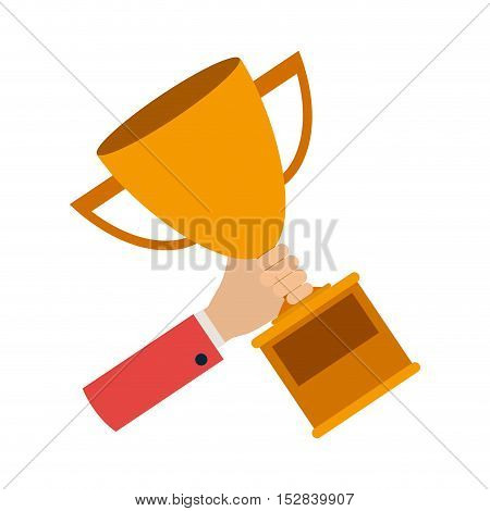 hand holding a winner trophy award over white background. vector illustration