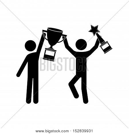 avatar man with arms up holding a winner trophy icon over white background. vector illustration