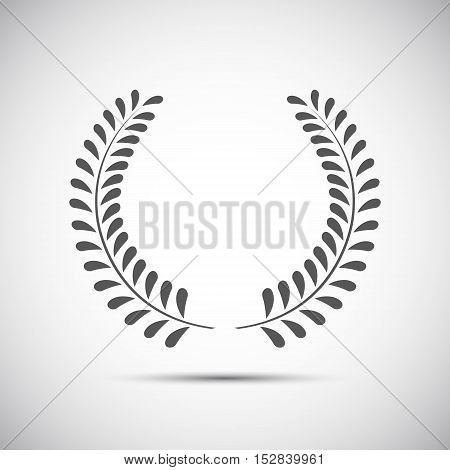 Simple laurel wreath icon twig with leaves vector illustration