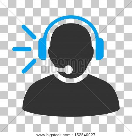 Blue And Gray Operator Message interface icon. Vector pictogram style is a flat bicolor symbol on chess transparent background.