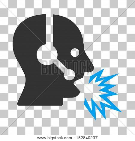 Blue And Gray Operator Shout toolbar icon. Vector pictogram style is a flat bicolor symbol on chess transparent background.