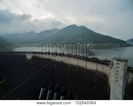 Bhumipol Dam Aerial photo after rains in thailand.