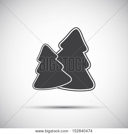 Simple grey icon of two christmas tree vector illustration