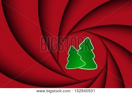 Red christmas background with two christmas tree the appearance of the camera shutter