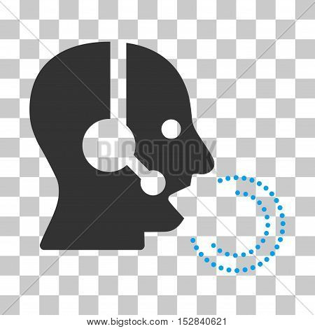 Blue And Gray Operator Speech interface icon. Vector pictograph style is a flat bicolor symbol on chess transparent background.