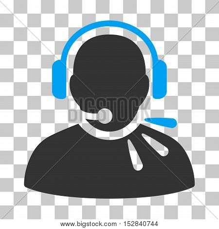 Blue And Gray Operator Speech toolbar icon. Vector pictograph style is a flat bicolor symbol on chess transparent background.